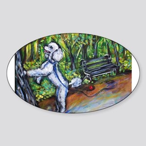 Poodle squirrel chaser Oval Sticker