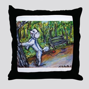 Poodle squirrel chaser Throw Pillow