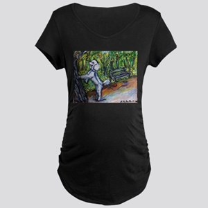 Poodle squirrel chaser Maternity Dark T-Shirt