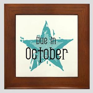 Blue Star Due In October Framed Tile