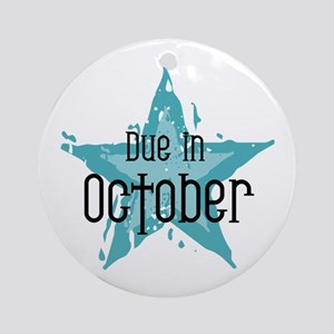 Blue Star Due In October Ornament (Round)