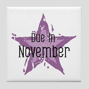Purple Star Due In November Tile Coaster