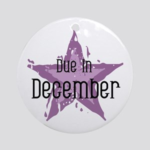 Purple Star Due In December Ornament (Round)