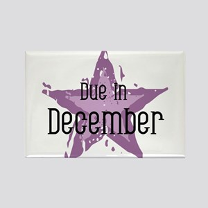 Purple Star Due In December Rectangle Magnet