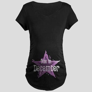 Purple Star Due In December Maternity Dark T-Shirt
