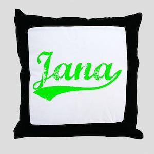 Vintage Jana (Green) Throw Pillow