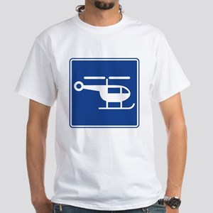 Helicopter Sign White T-Shirt