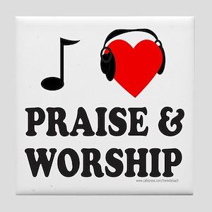 I HEART PRAISE & WORSHIP Tile Coaster