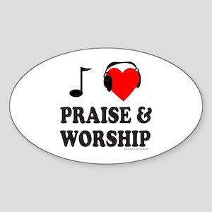 I HEART PRAISE & WORSHIP Oval Sticker
