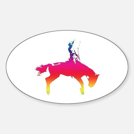 Rainbow Cowgirl Oval Decal