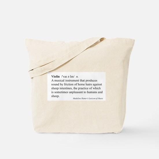 Humorous Violin Definition Tote Bag