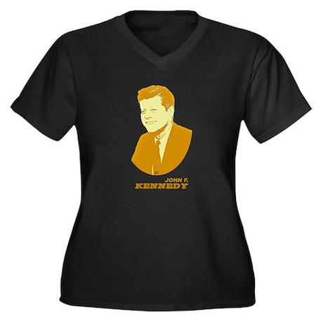 John Kennedy Women's Plus Size V-Neck Dark T-Shirt