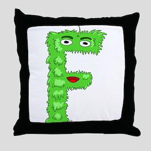 Monster Letter F Throw Pillow