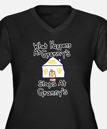 Granny's House Women's Plus Size V-Neck Dark T-Shi