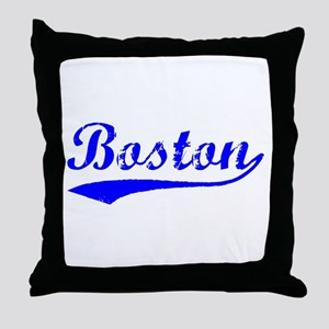 Vintage Boston (Blue) Throw Pillow