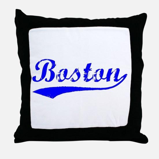 Vintage Boston (Blue) Throw Pillow