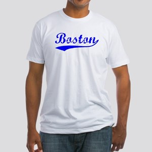 Vintage Boston (Blue) Fitted T-Shirt