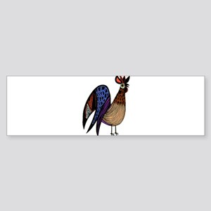 Rooster in Assorted Feather Pattern Bumper Sticker