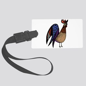 Rooster in Assorted Feather Patt Large Luggage Tag