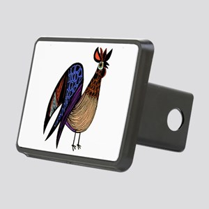 Rooster in Assorted Feathe Rectangular Hitch Cover