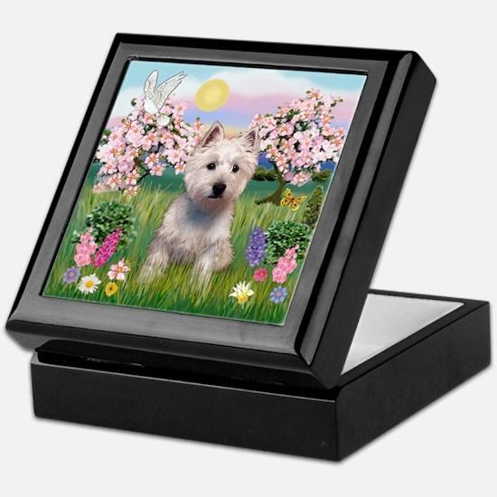Blossoms & West Highland Keepsake Box