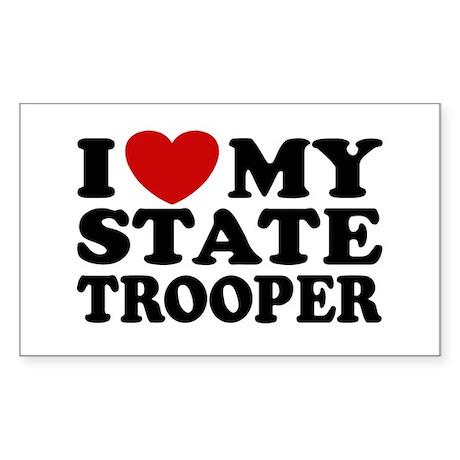 I Love My State Trooper Rectangle Sticker