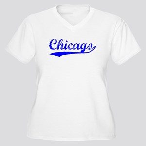 Vintage Chicago (Blue) Women's Plus Size V-Neck T-