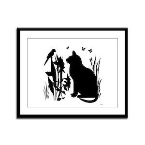 SPRING KITTY SILHOUETTE Framed Panel Print