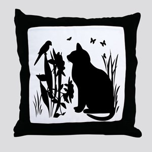 SPRING KITTY SILHOUETTE Throw Pillow