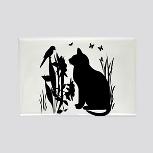 SPRING KITTY SILHOUETTE Rectangle Magnet