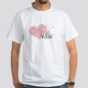 Army Wife Hearts White T-Shirt