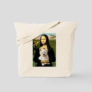 Mona Lisa & West Hightland Tote Bag