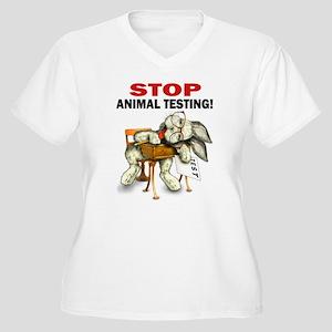 Stop Animal Testing! Women's Plus Size V-Neck T-Sh