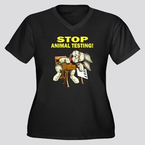 Stop Animal Testing! Women's Plus Size V-Neck Dark