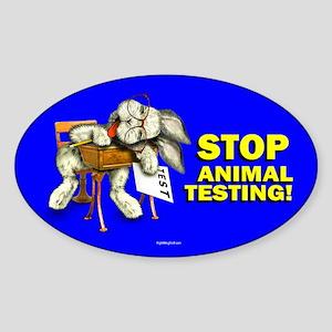 Stop Animal Testing! Oval Sticker