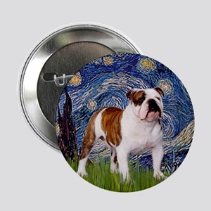 Starry Night English Bulldog Button