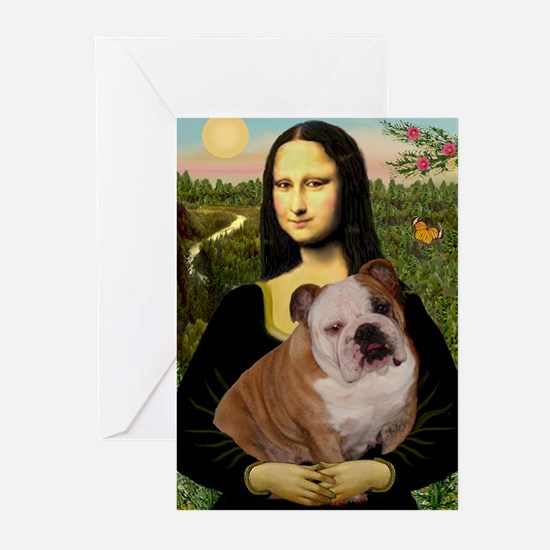 Mona Lisa & English Bulldog Greeting Cards (Pk of