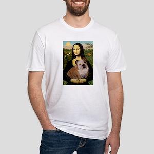 Mona Lisa & English Bulldog Fitted T-Shirt