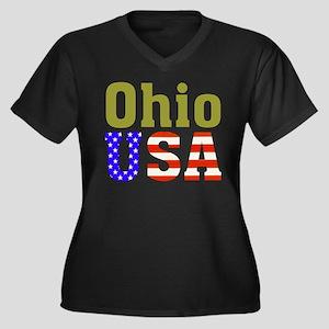 Ohio USA Women's Plus Size V-Neck Dark T-Shirt
