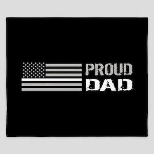 U.S. Flag White Line: Proud Dad (Black) King Duvet