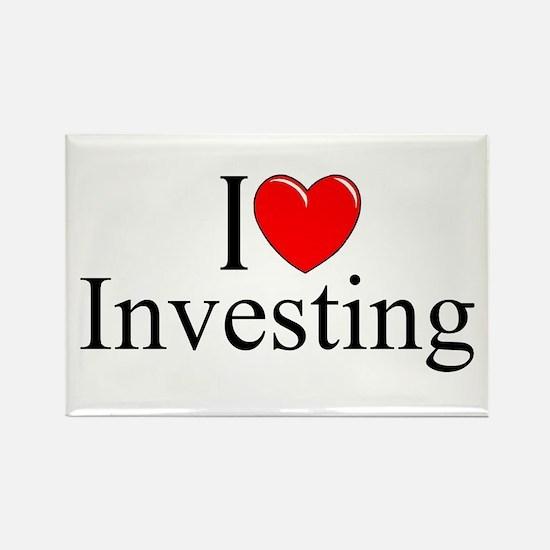 """""""I Love (Heart) Investing"""" Rectangle Magnet"""