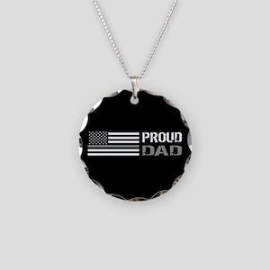 U.S. Flag Grey Line: Proud D Necklace Circle Charm