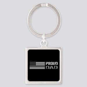 U.S. Flag Grey Line: Proud Dad (Bl Square Keychain