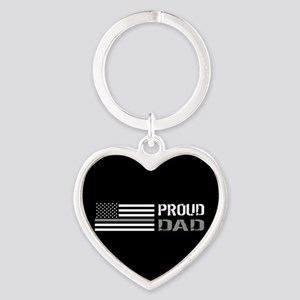 U.S. Flag Grey Line: Proud Dad (Bla Heart Keychain