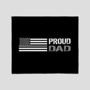 U.S. Flag Grey Line: Proud Dad (Blac Throw Blanket