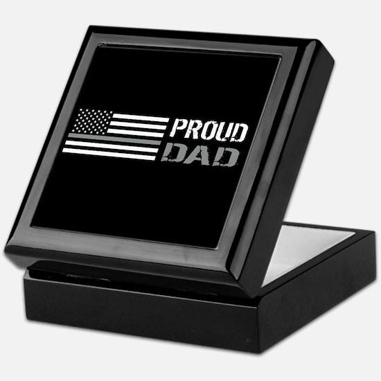 U.S. Flag Grey Line: Proud Dad (Black Keepsake Box