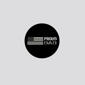 U.S. Flag Grey Line: Proud Dad (Black) Mini Button