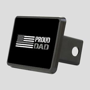 U.S. Flag Grey Line: Proud Rectangular Hitch Cover