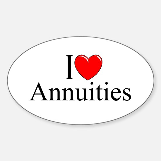 """""""I Love (Heart) Annuities"""" Oval Decal"""