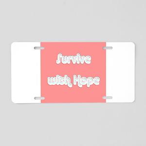 Survive w/ Hope Cancer Surv Aluminum License Plate